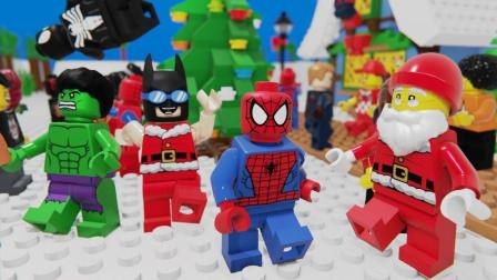 乐高定格动画: 乐高蜘蛛人圣诞晚会-购物砖建筑圣诞树