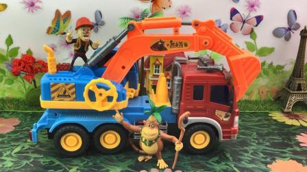 百变熊出没玩具 熊出没工程车玩具拆箱光头强开挖掘机咯