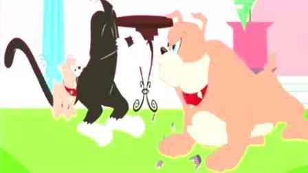 猫和老鼠: 两猫战一狗汤姆胆子肥了, 找来强力帮手挑战斯派克, 太搞笑了!