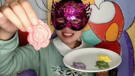 """妹子试吃""""玫瑰花布丁"""", 层叠叠好漂亮, 多色多味, 你想尝尝吗"""