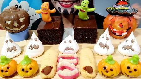 小姐姐狂吃万圣节专属糖果, 一群小幽灵飞来, 网友: 这么恶搞真嗨皮