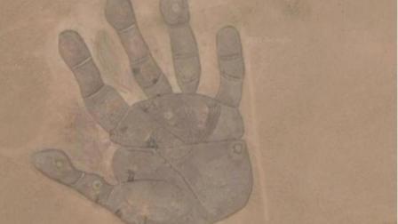 将内蒙古地图放大, 发现有一个手掌印, 到底是怎么回事呢?