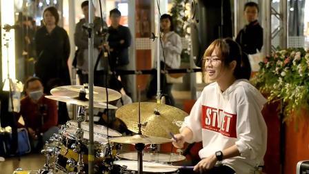 罗小白街头架子鼓表演《倒数》, 单曲循环停不下来!