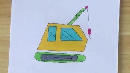 简笔画: 卡通画大吊车, 孩子最爱, 只需要两分钟
