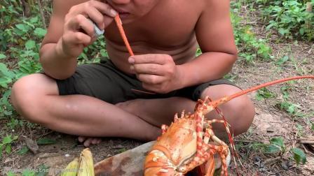 荒野生存 生存哥 捕捉 龙虾烹饪美食龙虾