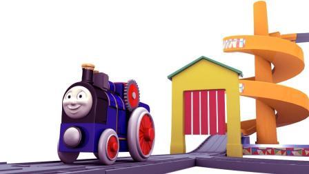 组建小火车积木轨道和冰激凌车
