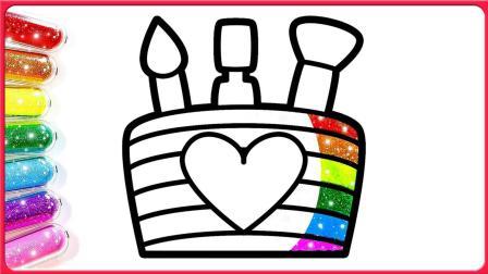 简笔画! 绘制一个会发光的生日蛋糕! 超级简单哦! 小猪佩奇 超级飞侠都一起来画画了呢