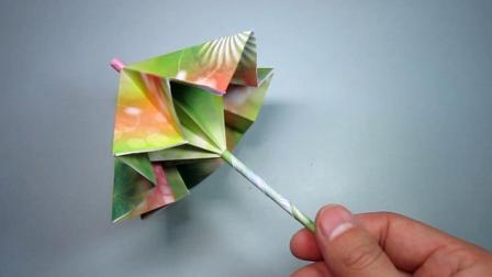手工折纸教程, 小雨伞的简单折法, 好漂亮几分钟就能学会