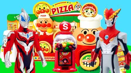 捷德和罗布奥特曼来帮助面包超人布置披萨店
