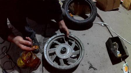 摩托车修理真空胎刚圈边上漏气
