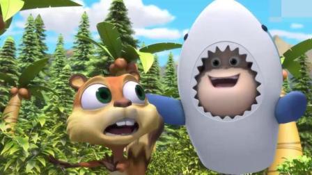 熊熊乐园:大鲨鱼来了,蹦蹦被大鲨鱼吃掉了,蹦蹦不能玩了!