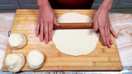 发面饼新做法, 不用蒸, 不用煎, 简单一擀, 大饼秒变披萨, 太香了