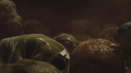 一大堆外星蛋正在孵化, 绿色滑溜溜的, 想去触摸, 却被它给吓到了!