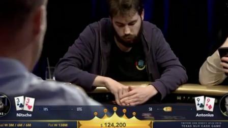 德州扑克Anton用99o3bet, Nits用33跟注, 看了牌池乐开花