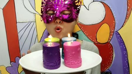"""妹子试吃""""蜡烛巧克力"""", 色彩艳丽吹灭了还能吃, 甜蜜丝滑口感好"""