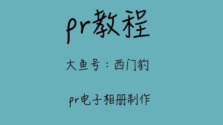 pr教程新手零基础Premiere视频教程制作一个pr立体旋转相册