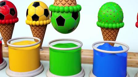 益智色彩启蒙: 制作色彩足球冰淇淋给大象吃, 学习颜色