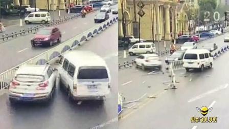 重庆九龙坡: 面包车撞上左侧轿车 疑因面包车故障失灵所致