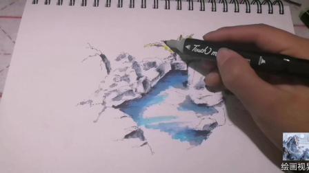 绘画教学: 用马克笔给钢笔画上色的艺术作品怎么样了, 一起来学习