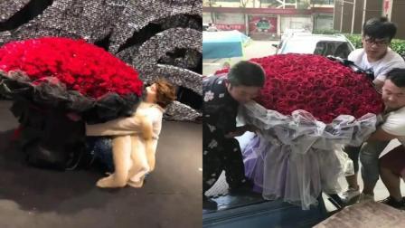 美女用尽全身力气接玫瑰花, 笑翻了!