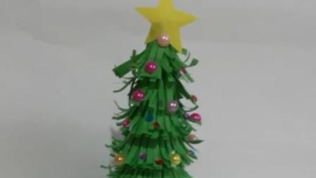 手工折纸圣诞树, 做法简单易学, 快来教小朋友做手工吧!