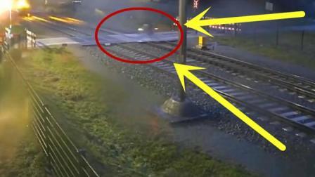 摩托车男子跟货车抢道, 拿自己生命跟火车赛跑, 几秒后让人目瞪口呆