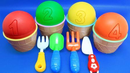 趣味亲子彩泥冰淇淋魔力72变, 早教色彩认知萌宝识颜色与数字1-8!