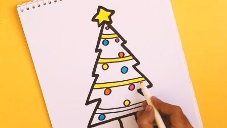 亲子简笔画, 用字母Z画出圣诞树, 很简单, 学起来教小朋友吧