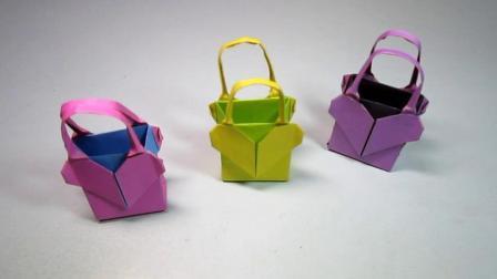 手工折纸: 爱心礼品袋的折法, 小巧可爱, 女孩子好喜欢