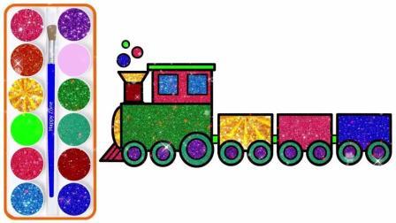 宝宝学画画,简单画出小火车,轮子车厢都有,涂上彩色好漂亮