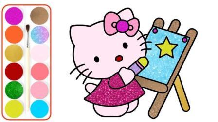 宝宝学画画,一幅HelloKitty正在绘画图,简单的就能画出来并涂色