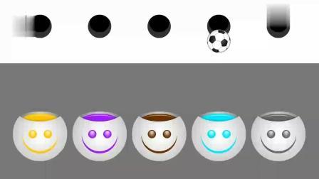玩彩虹乐器得到彩色足球玩具 动画片