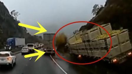 大货车路上超车不成, 突然发生侧翻事故, 监控还原现场