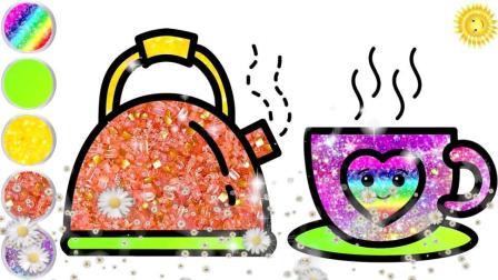 宝宝学画画,简单地画出茶壶和茶杯再涂色,亲子早教
