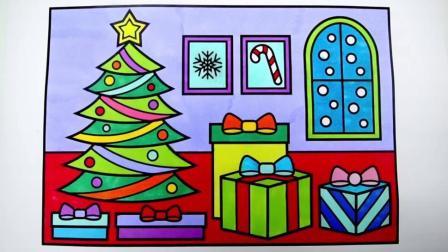 宝宝学画画,简单地画出圣诞树和圣诞礼物并涂色,漂漂亮亮
