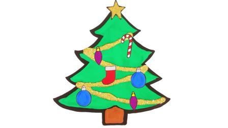 宝宝学画画,简单地画出圣诞树和装饰并涂色,亲子早教益智