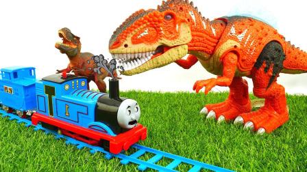 托马斯小火车和他的朋友们玩具视频第4季第15集 霸王龙恐龙袭击