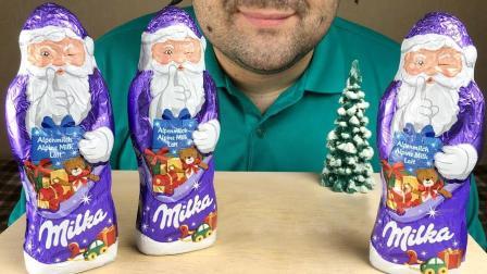 大胃王吃圣诞老人巧克力, 老爷爷画风突变, 网友: 侧面看起来有点怪