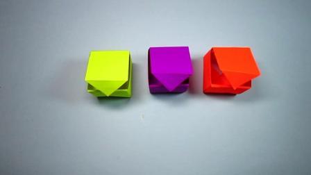 手工折纸: 立方体盒子的折法, 还有盖子, 四四方方超好看