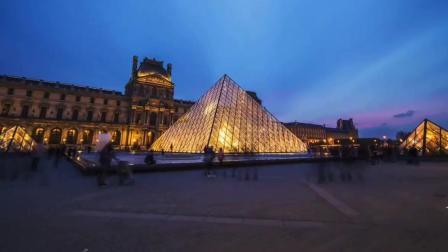 巴黎卢浮宫的日与夜, 晚上灯火通明的样子好美