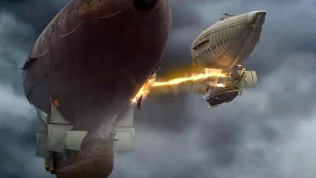 两艘飞艇在中空决战, 太精彩了, 有转盘炮和喷火枪! 《三个火枪手》