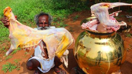 印度大爷新菜谱, 窄口大金罐炖羊肉泡饭, 看看最后成什么样了