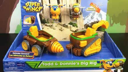 超级飞侠玩具多多挖掘机和金刚钻头工程车