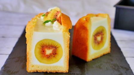中间裹着整颗猕猴桃的奶冻磅蛋糕, 口感一定特别棒