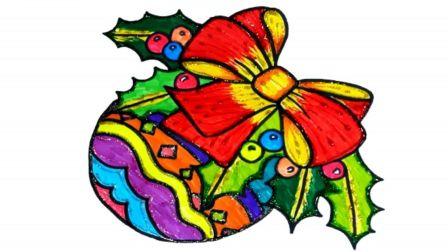 宝宝学画画,简单地画出蝴蝶结水果篮子并涂色,五颜六色好漂亮