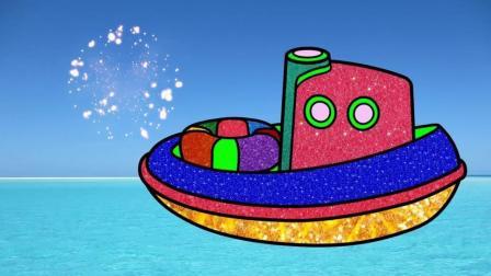 宝宝学画画,简单地画出小救生艇在海里并涂色,亲子早教