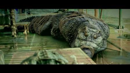 光头仔屠杀鳄鱼, 没想到身后那条最大的鳄鱼, 已经蓄势待发了