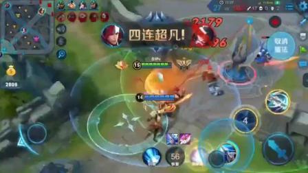 王者荣耀: 国服韩信高地调戏对面, 一打五拿下五杀, 对面怎么玩, 操作6666