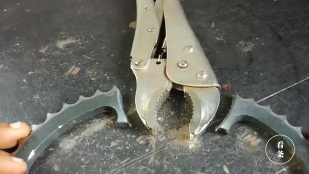 牛人把一个齿轮盘切碎, 和大力钳焊在一块, 也太