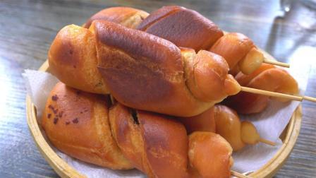 老式鸡腿面包, 不用烤箱, 不用电饭煲, 不用烙, 这样做比买的好吃